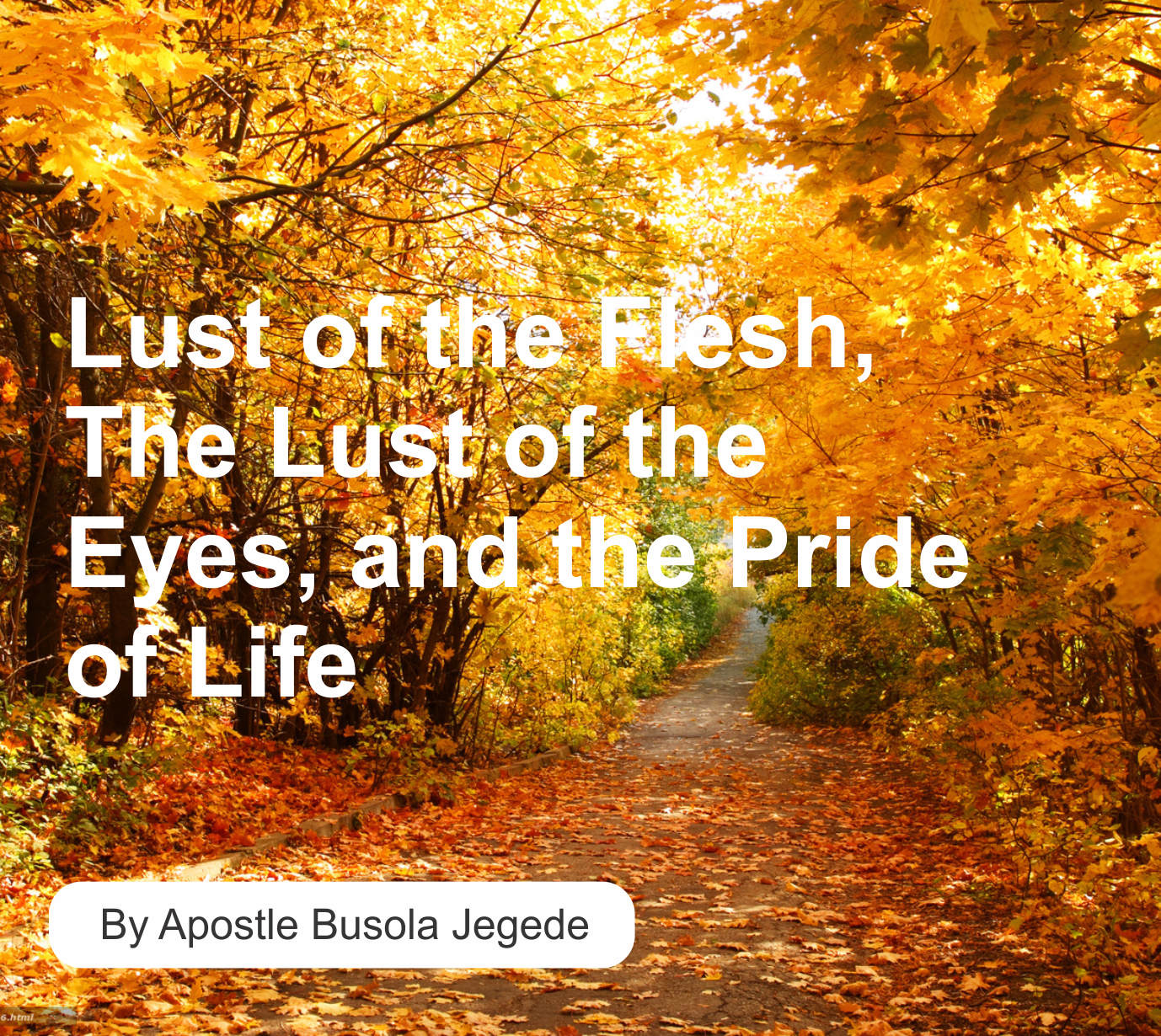 Lust of the Flesh, The Lust of the Eyes, and the Pride of Life